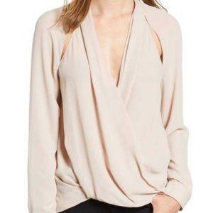 Trouve Surplice Cut Out Blouse Neutral Blush